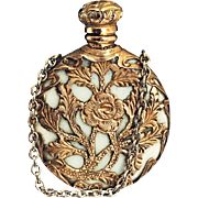 c.1880 Caged Opaline Milk Glass Scent Perfume Bottle
