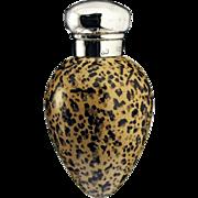 1884 Macintyre porcelain birds egg scent perfume bottle, silver top