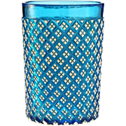 c.1890 Bohemian white over blue cut glass tumbler, beaker