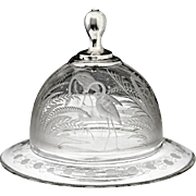c.1850-60 Dutch engraved glass butter bell and dish
