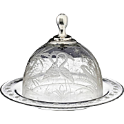 c.1850-60 Dutch engraved glass cheese bell and dish
