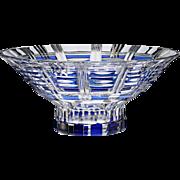c.1960s large Val St. Lambert Syracuse blue overlay crystal bowl