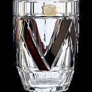 c.1930s Val St. Lambert plum overlay cut to clear Deco crystal vase, Joseph Simon