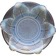 c.1930s Ezan France opalescent Deco glass lily pad bowl