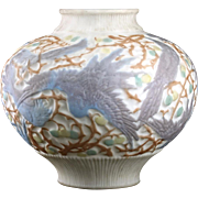 c.1940s Consolidated Phoenix frosted and relief moulded milk glass parrots vase