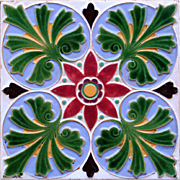 c.1860 English embossed majolica tile, Minton & Co.