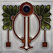 c.1900 Ostara Art Nouveau tube line tile #2