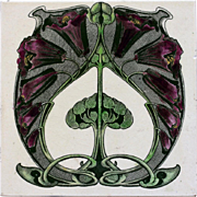 c.1900 English Art Nouveau transfer print tile