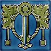 c.1900 Ostara Art Nouveau tube line tile