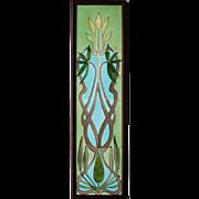 c.1900 Hemiksem Belgium Art Nouveau four tile floral set #2, framed
