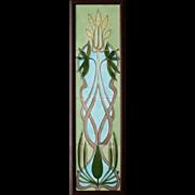 c.1900 Hemiksem Belgium Art Nouveau four tile floral set, framed