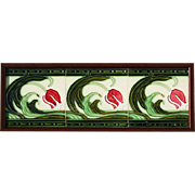 c.1920s Ceramiques Herent stylised tulip three tile panel, framed