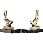 c.1930s pair of plated bronze Deco bird bookends