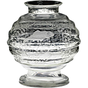 1943 fish engraved glass vase, Bruxelles Royal Yacht Club prize