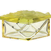 c.1930s citrine glass box & cover with high relief moulding, Rudolf Hlousek