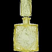 c.1930s moulded & cut citrine deco glass decanter, Rudolf Hlousek