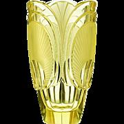 c.1920s-30s citrine relief moulded & cut Deco glass vase, Rudolf Hlousek Eisenbrod