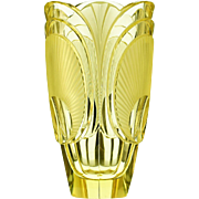 c.1920s-30s citrine relief moulded & cut Deco glass vase, Rudolf Hlousek Eisenbrod