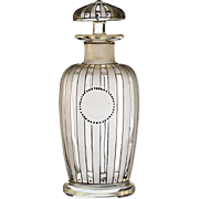 c.1920s French Art Deco enamelled & etched glass scent perfume bottle #2