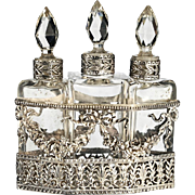 c.1880 French crystal scent perfume bottle trio in plated holder