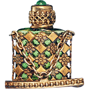 c.1950s Czechoslovakian caged glass scent perfume bottle brooch #3