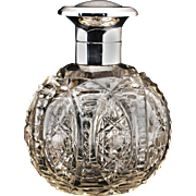 1921 Cut Crystal Spherical Scent Perfume Bottle, Sterling Silver Top