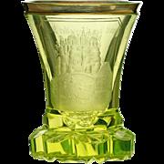 c.1840 Bohemian uranium green Bürgstein engraved glass beaker