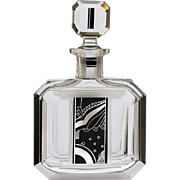 c.1930s Palda or Posselt Deco engraved & enamelled crystal decanter