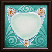 c.1905 English Art Nouveau tile #5, framed