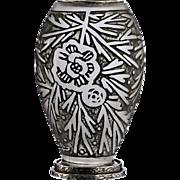 c.1930s Val St. Lambert Art Deco acid etched glass vase with metal mounts