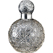 1903 Crystal Spherical Scent Perfume Bottle, Sterling Silver Top.