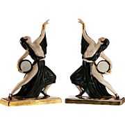 c.1930s pair of Art Deco porcelain dancers by Jean Born Robj Paris