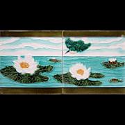 c.1900 Societe Morialme Belgium two tile Art Nouveau lily & kingfisher set