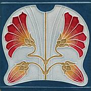 c.1905 German Art Nouveau floral tile, Tonwerk Offstein #4