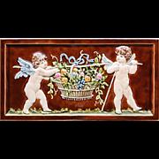 c.1910 large Villeroy & Boch Art Nouveau relief cherubs tile #3, framed