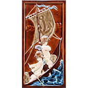 c.1910 large Villeroy & Boch Art Nouveau relief cherubs tile #1, framed