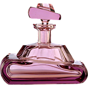 c.1920s Czech Deco lilac cut glass WW1 Renault tank perfume scent bottle