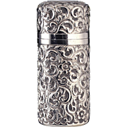 1900 George Watts silver cylinder scent perfume bottle