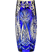c.1925 Josephinenhütte blue overlay cut crystal vase with silver decoration