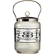 c.1920 enamelled glass biscuit barrel cookie jar, Fachschule Haida