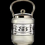 c.1920 enamelled glass biscuit barrel cookie jar, Fachschule Haida