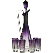 c.1910 Moser graduated amethyst decanter & glass set