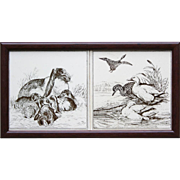 Two c.1880 Minton Hollins tiles by W. P. Simpson, rabbits & ducks, framed
