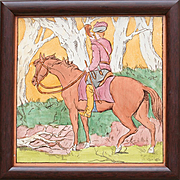 rare 1878 Copeland hand painted hunting tile, framed