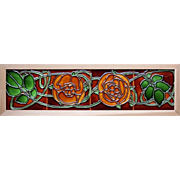 c.1900 Flaxman Art Nouveau four tile rose panel, framed