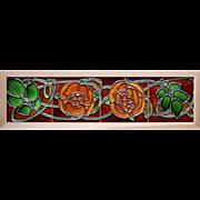 c.1900 Flaxman Art Nouveau four tile rose panel, framed