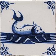 c.1800 Delft blue fish tile