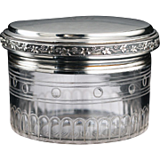 c.1910 French Engraved Crystal Dressing Table Jar and Silver Cover