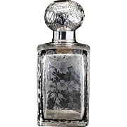 c.1890 French rose engraved crystal scent perfume bottle, silver top