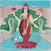 c.1920s-30s goddess Lakshmi tile,  M.S. Tile Works Japan #2